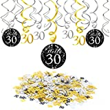 30th Birthday Decoration, Konsait 30th Birthday Hanging Swirl (15 Counts), Happy Birthday & 30 Table Confetti (1.05oz) Black Hanging Swirl Ceiling Decor Table Decor for Birthday Party Decorations