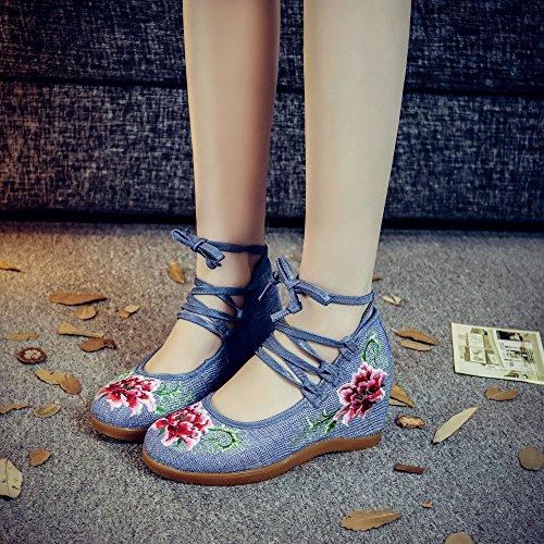 Avacostume Donna Ricamo Trapano Caldo Sandali Con Cinturino Alla Caviglia Con Cinturino Alla Caviglia Blu