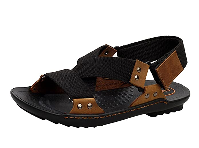 Insun Zapatillas de Piel Para Hombre, Color Negro, Talla 41 1/3