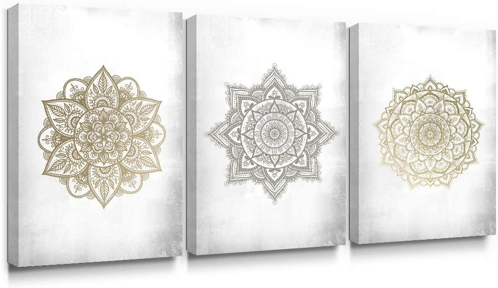 SUMGAR Large Wall Art Living Room Boho Decor Gold Mandala Canvas Paintings Bedroom 3 Piece Grey Flowers Pictures Gray Floral Prints Indian Bohemian Framed Artwork Yoga Spa Home Decorations,16x24 in