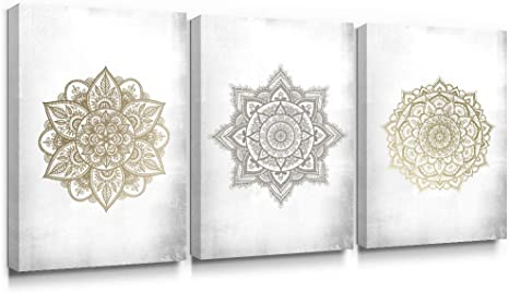 Amazon Com Sumgar Large Wall Art Living Room Boho Decor Gold Mandala Canvas Paintings Bedroom 3 Piece Grey Flowers Pictures Gray Floral Prints Indian Bohemian Framed Artwork Yoga Spa Home Decorations 16x24 In