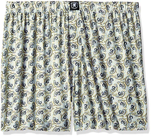 STACY ADAMS Men's Big and Tall Boxer Short, White/Blue Paisley 4XL