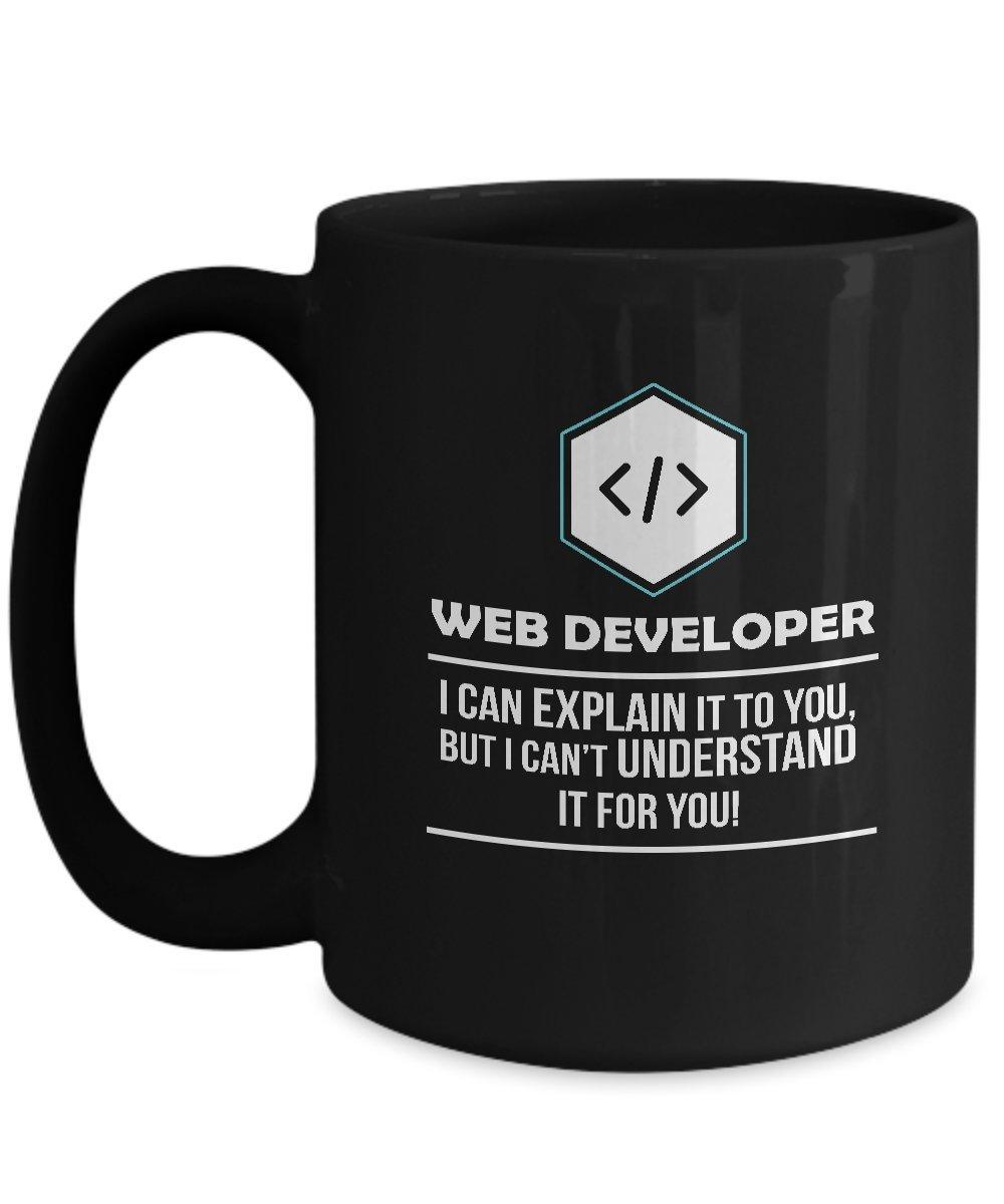 Web開発者マグ – I can explain Occupationギフトコーヒーカップ 15oz ブラック GB-2414880-43-Black 15oz ブラック B079RN614P
