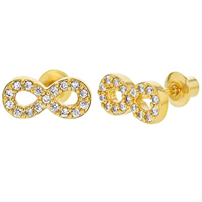 e1502f47dd6a6 18k Gold Plated Infinity Symbol Clear Crystal Pave Screwback Earrings Girls