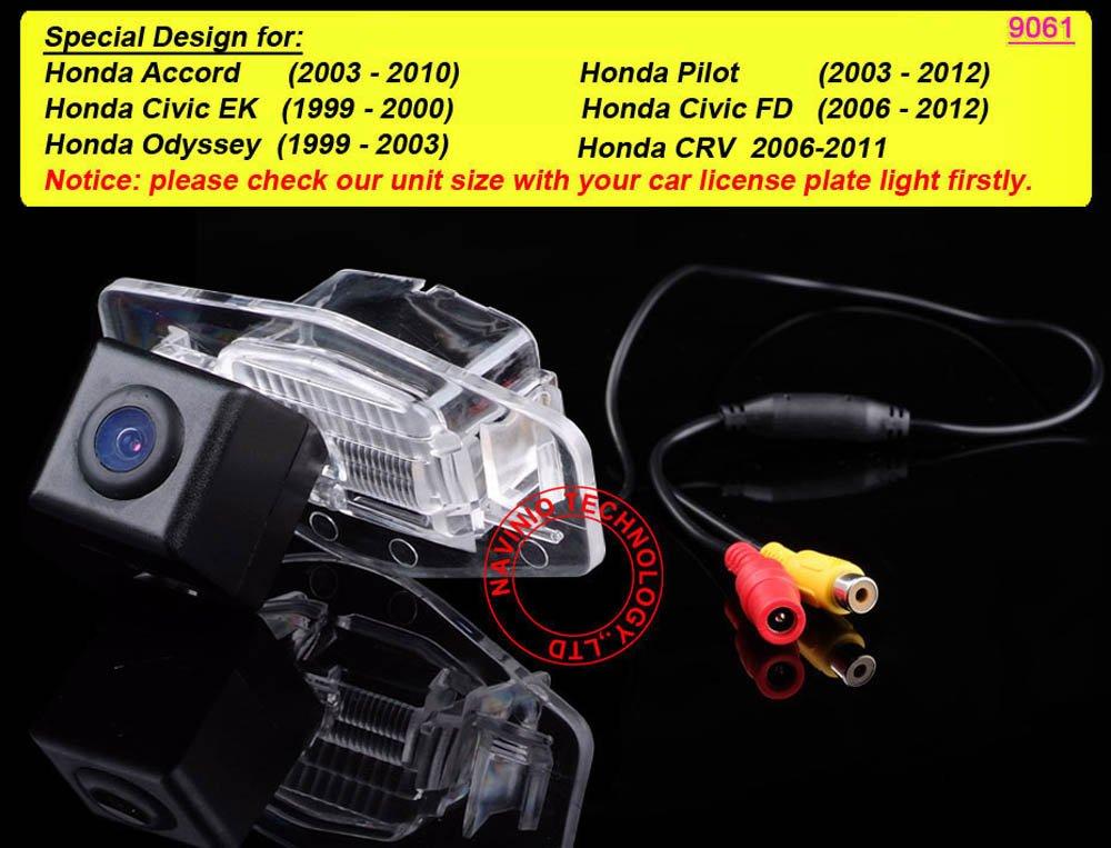170 Degree Viewing Angle Rearview Reverse Camera for Honda Accord Pilot Civic EK FD Odyssey CRV Car Navinio Inc NV9061-NEW-FBA Navinio HD Color Waterproof Vehicle Car Rear View Backup Camera