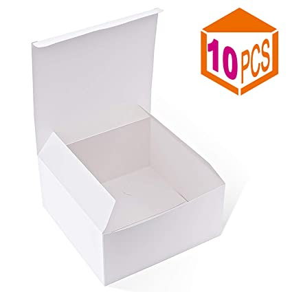 Mesha Gift Boxes 10pack 8 X 8 X 4 Inches Paper Gift Boxes With Lids For Gifts Bridesmaid Proposal Box Crafting Cupcake Boxes White