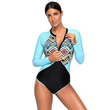 a3403c07d03cb Traje de baño Mujer Bikini Zip Front Swimwear Traje de Surf de Manga Larga  Bañador Una Pieza Push Up Bañador  Amazon.es  Ropa y accesorios