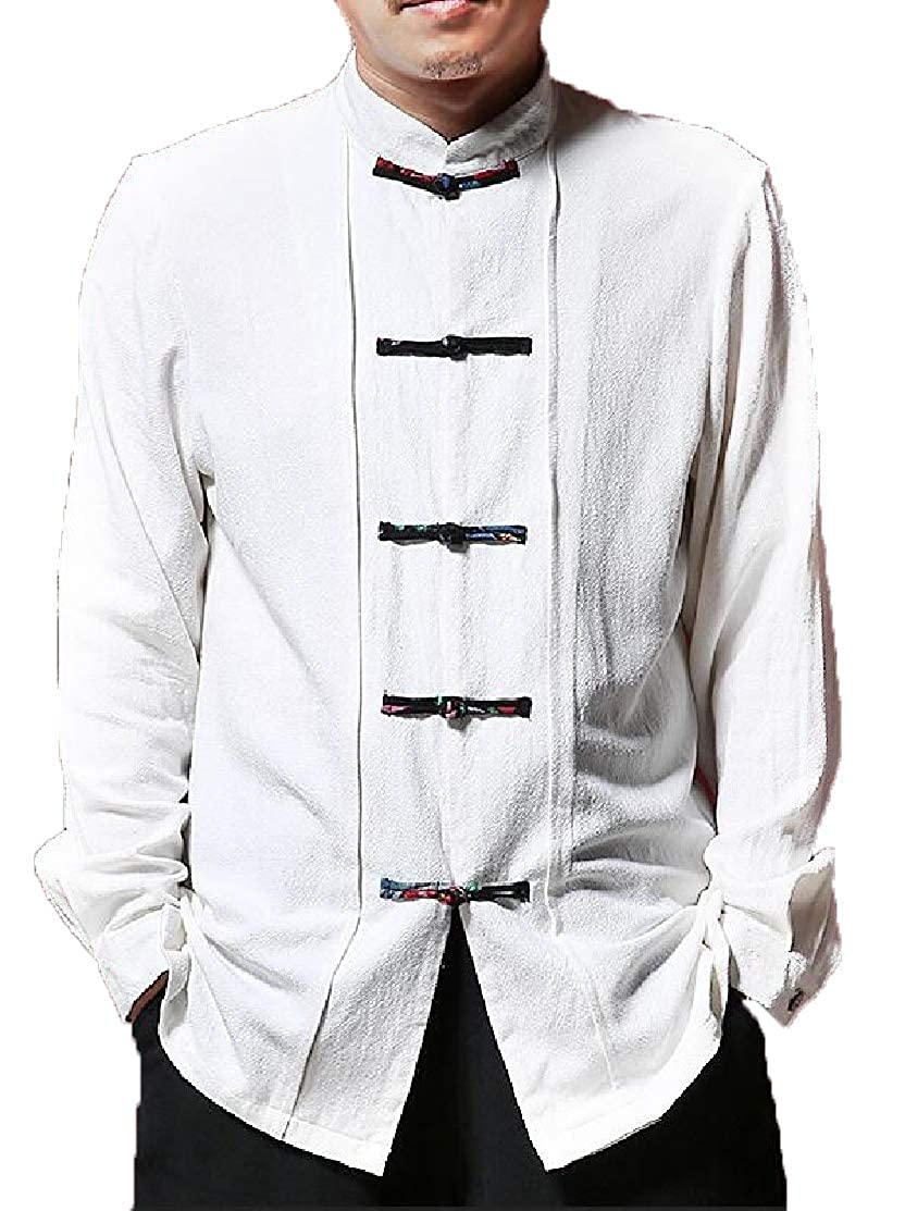 M/&S/&W Mens Long Sleeve Stand Collar Linen Button Down Ethnic Shirt