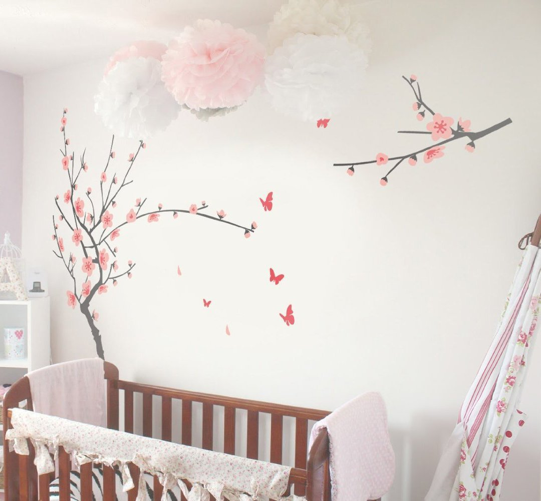 Amazon tiktak art removable cherry blossom japanese sakura amazon tiktak art removable cherry blossom japanese sakura tree wall decal big size easy peel and stick diy decal baby amipublicfo Gallery