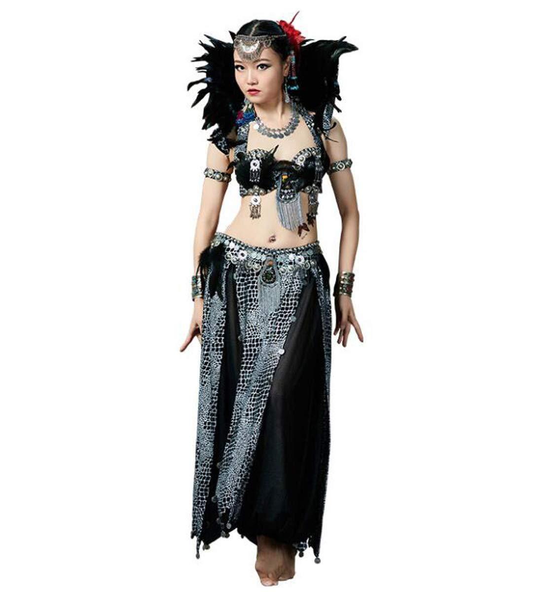 女性のベリーダンススカート部族衣装ポリエステルスカートボリウッドドレスハロウィンダンス衣装ハンドメイド Haveacollar Medium