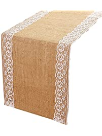 Lace Burlap Table Runners  12 X 108 Inches Natural Jute Table Runner,Rustic  Table