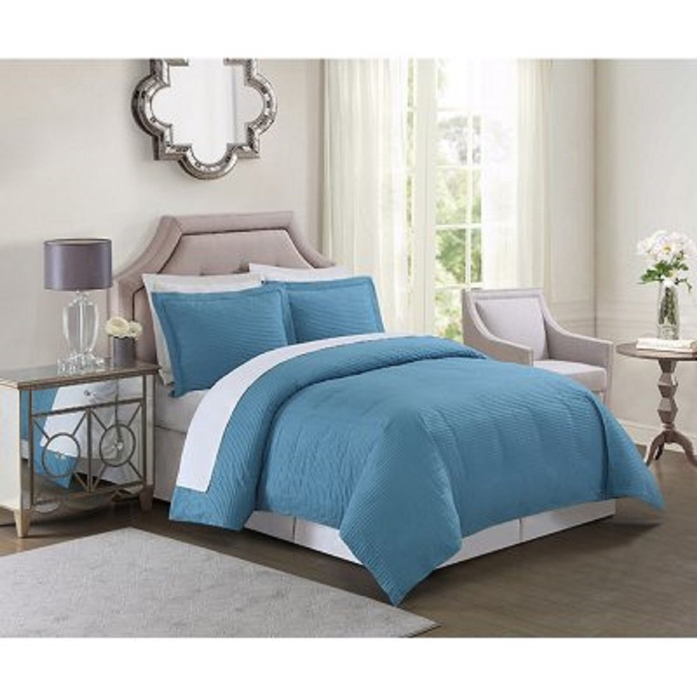 Christian Siriano Down-Alternative 4-Piece Comforter Set TEAL KING