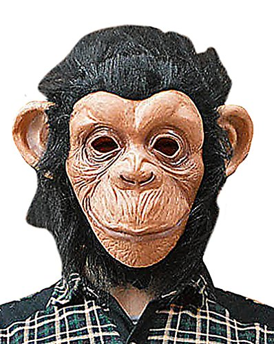 Maze Fun Realistic Brown Faced Black Haired Monkey Head Full Face Latex Mask, 1- One Size ()