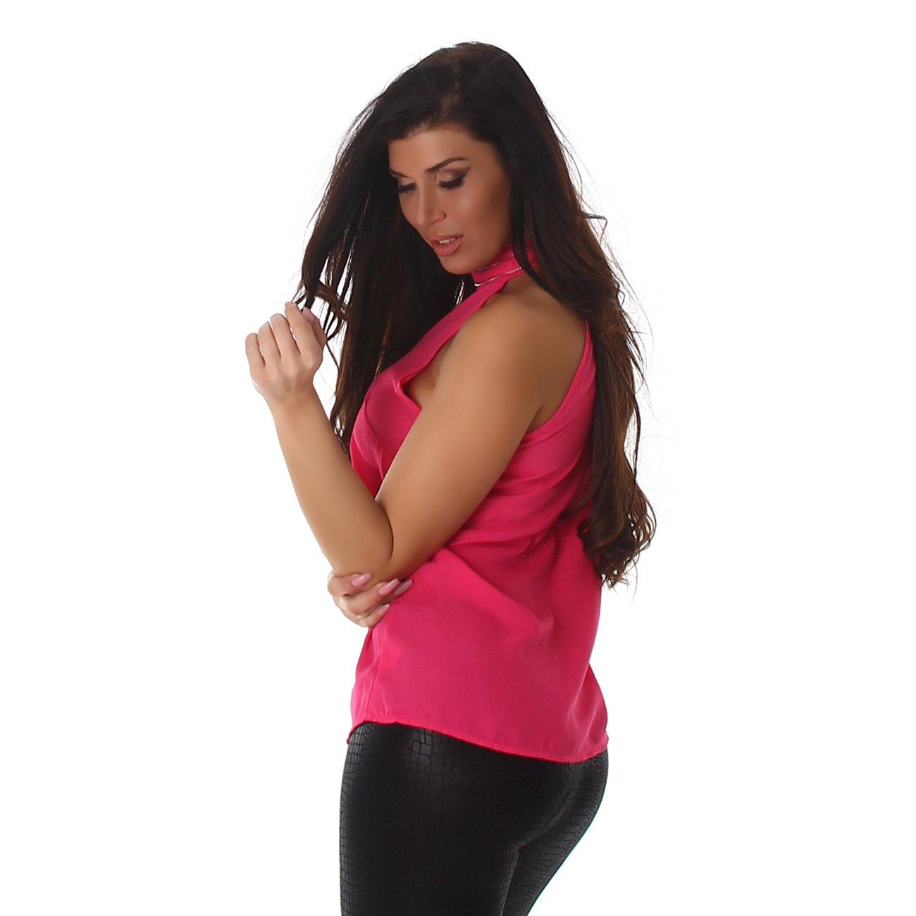 357ea544bb Voyelles - Camisas - Blusa - Liso - Cuello Alto - para Mujer Rosa M   Amazon.es  Ropa y accesorios