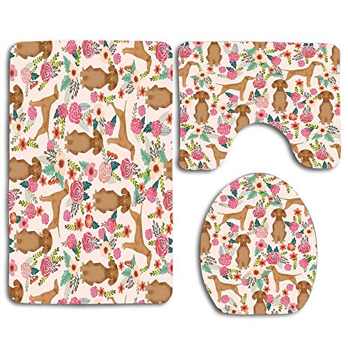 NEWcoco Soft Comfortable Skidproof Toilet Seat Cover Bath Mat Lid Cover Vizsla Florals Dog Pattern Dog Gifts Dog Breeds Pet Portraits
