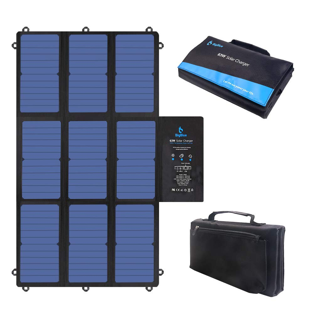 BigBlue 63W Foldable Solar Charger Portable SunPower Solar Panel (Dual 5V USB+19V DC Output+ USB-C Port) for Laptop, Power Station, Tablet, iPad, iPhone, Acer, Asus, Dell, HP, 12V Boat/RV Battery by BigBlue