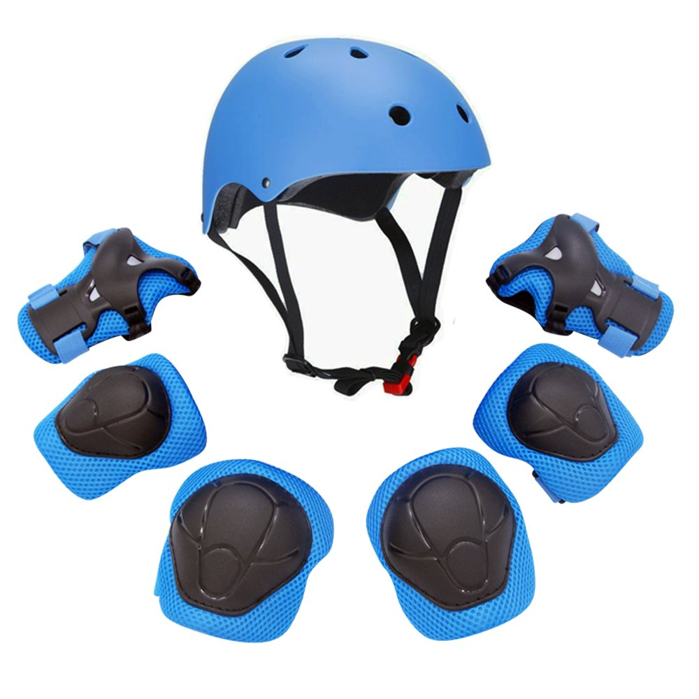 F&U Kids Youth Sports Protective Gear Set with Helmet Elbow Knee Wrist Safety Pad Safeguard for Rollerblading Bicycle BMX Bike Skateboard and other Extreme Outdoor Activities (Blue)