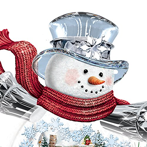 Thomas Kinkade Snowman Snow Globe Holiday Home Floral Centerpiece: Lights Up by The Bradford Exchange by Bradford Exchange (Image #1)