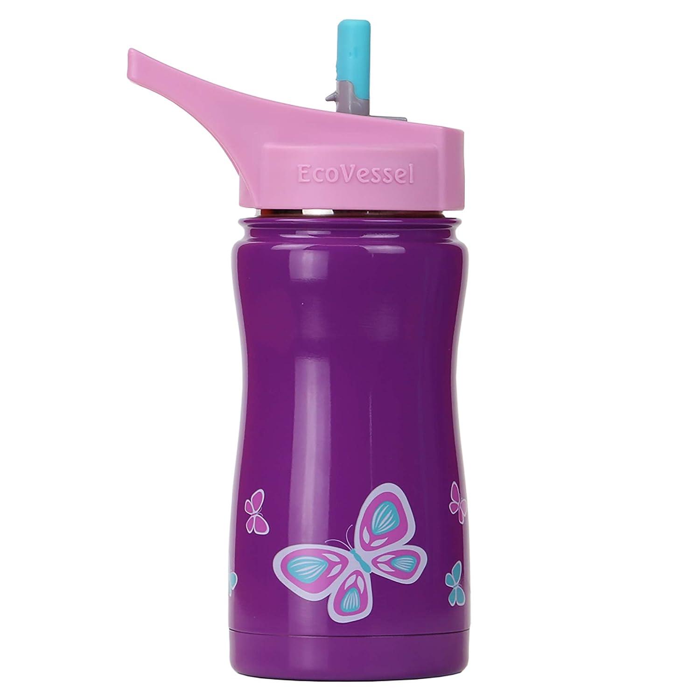 Ecovessel Frost Kid 's wählen Sie entweder Dreifach Isolierte Edelstahl-Flasche mit Flip Stroh Top – 13 Unzen