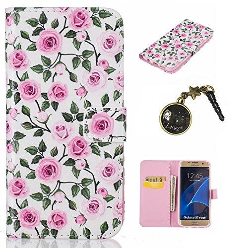 Carcasa para smartphone (PU y silicona, para smartphone Samsung Galaxy S7 Edge , diseño estampado, elemento conector para eliminar el polvo) negro 7 4