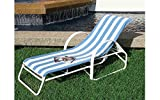 4 Chaise Lounge Towel Striped Blue/White Get +1 Free