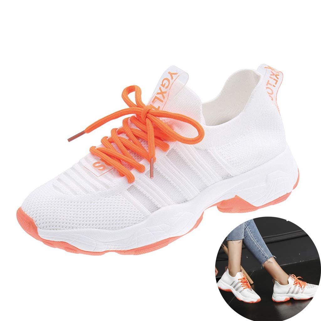 Women Girls Mesh Knit Sneakers Breathable Lace Up Thick Bottom Sport Shoes Comfy Non Slip Air Cushion Walking Athletic Shoes (Orange, 7 M US) by Swiusd Shoes