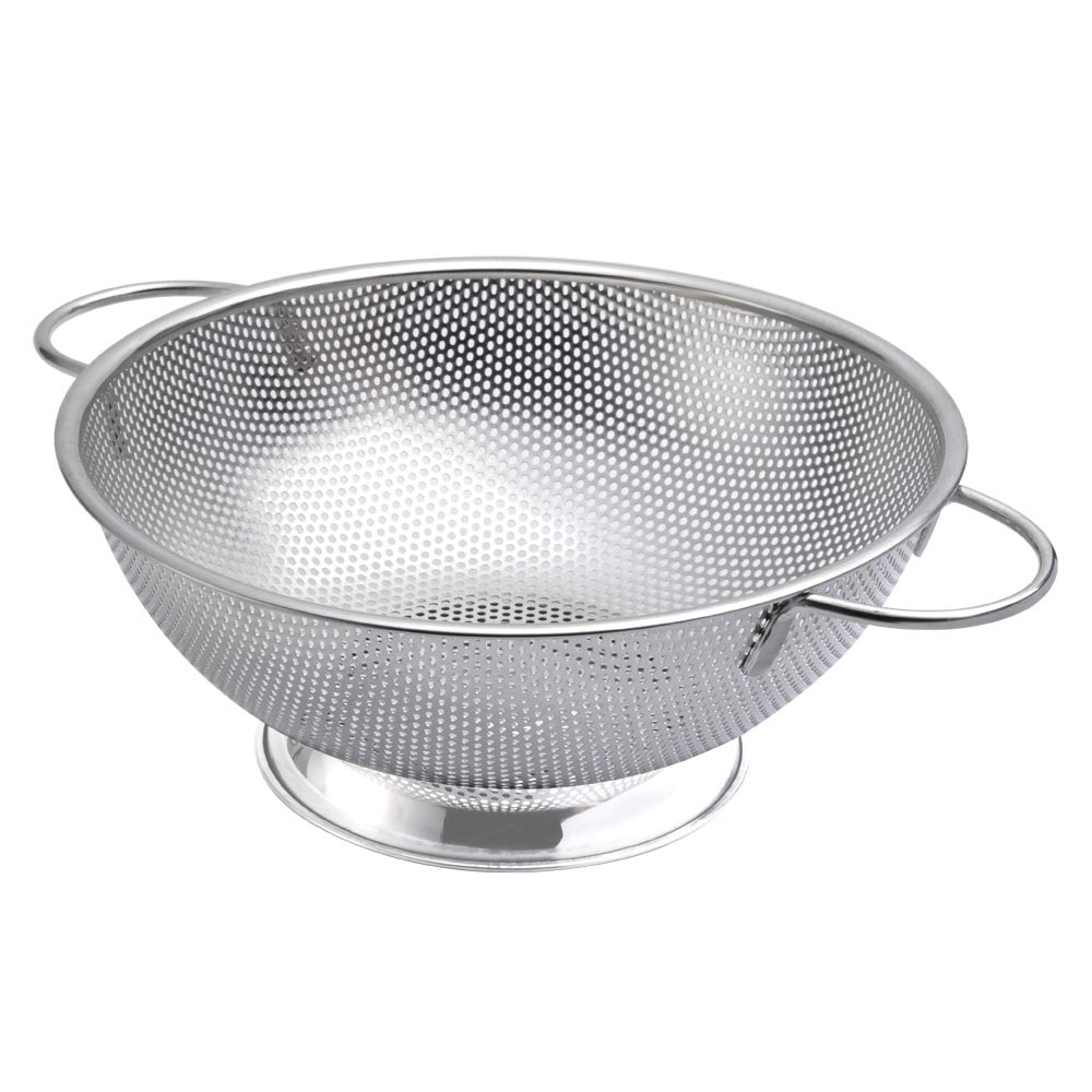 ZESPROKA Stainless Steel Micro-Perforated 5-Quart Colander Strainer - with Solid Handles and Stable Draining Ring Base - Ideal for Pasta, Beans, Noodles, Vegetables & Fruits ZSP-01