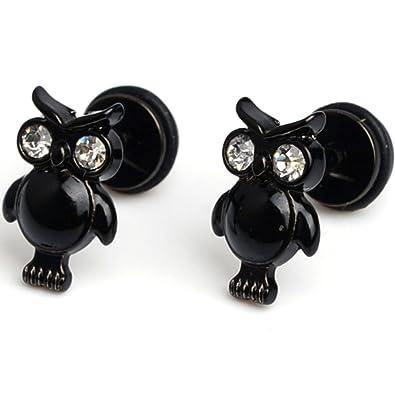 Cameleon-Shop-Pendientes de falsos-Dilatador Plug-CZ-acero inoxidable, diseño de ojos, color negro: Amazon.es: Joyería
