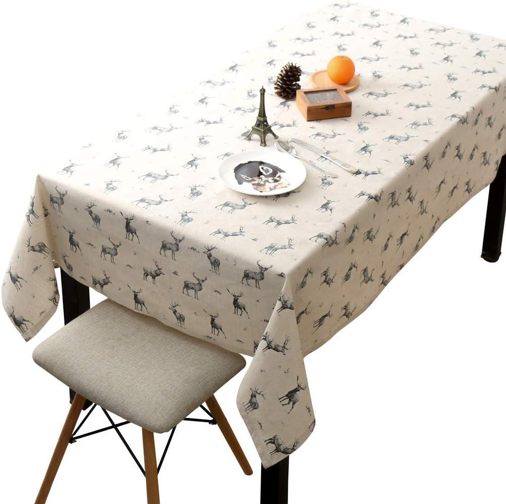 RTIHF Elk Nordic - Mantel pequeño de algodón y Lino, diseño Rectangular, Nordic Jeweils, 140 * 240cm: Amazon.es: Hogar