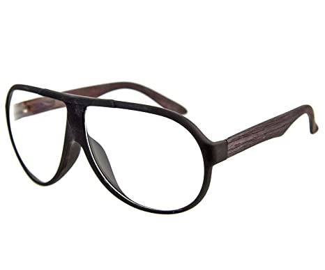 am besten kaufen weltweite Auswahl an großhandel online Nick and Ben Nerd-Brille Retro-Look Pilotenbrille Panto-Brille 70er 80er  Bügel in Holz-Optik Stabiler Halt Wayfare klassisch Classic Geek-Look