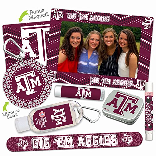 Texas A&M Aggies—DELUXE Variety Set (Nail File, Mint Tin, Mini Mirror, Magnet Frame, Lip Shimmer, Lip Balm, Sanitizer). NCAA gifts, stocking stuffers. Only from Worthy. (Basketball Pick Ncaa Guaranteed)