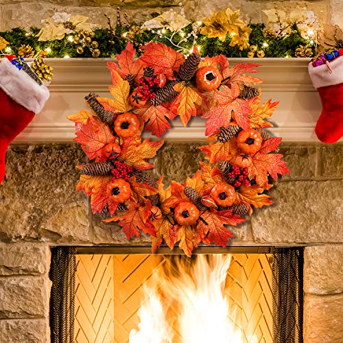 Valdler 22 Inch LED Halloween Autumn Fall Maple Leaf Front Door Decorative Wreath with Pumpkin, Pinecone,Red Berries Garland