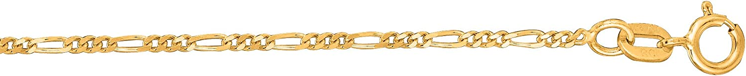 1.3mm, 2.8mm 14k Yellow Gold Figaro Link Foot Chain Anklet or Necklace
