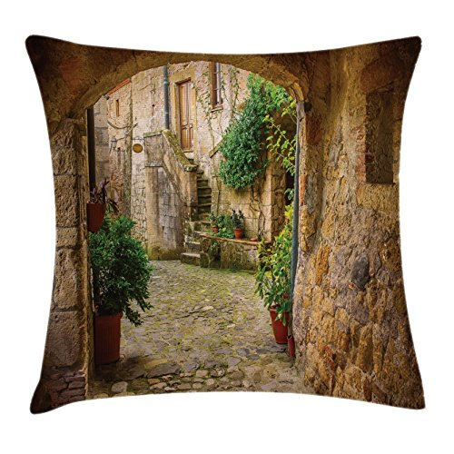 Scenery Decor Throw Pillow Cushion Cover by Ambesonne, Landscape from another Door Antique Stone Village Tuscany Italian Valley, Decorative Square Accent Pillow Case, 18 X18 Inches, Multicolor