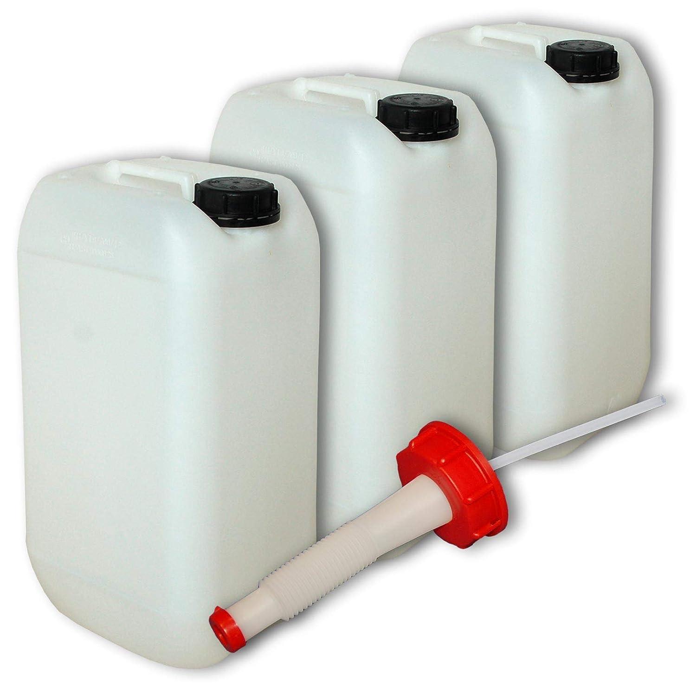 plasteo Lot de 3 bidons – Jerrican 15 L HDPE, Naturel + 1 Bec verseur Flexible DIN 61, Alimentaire (22096x3+22020)