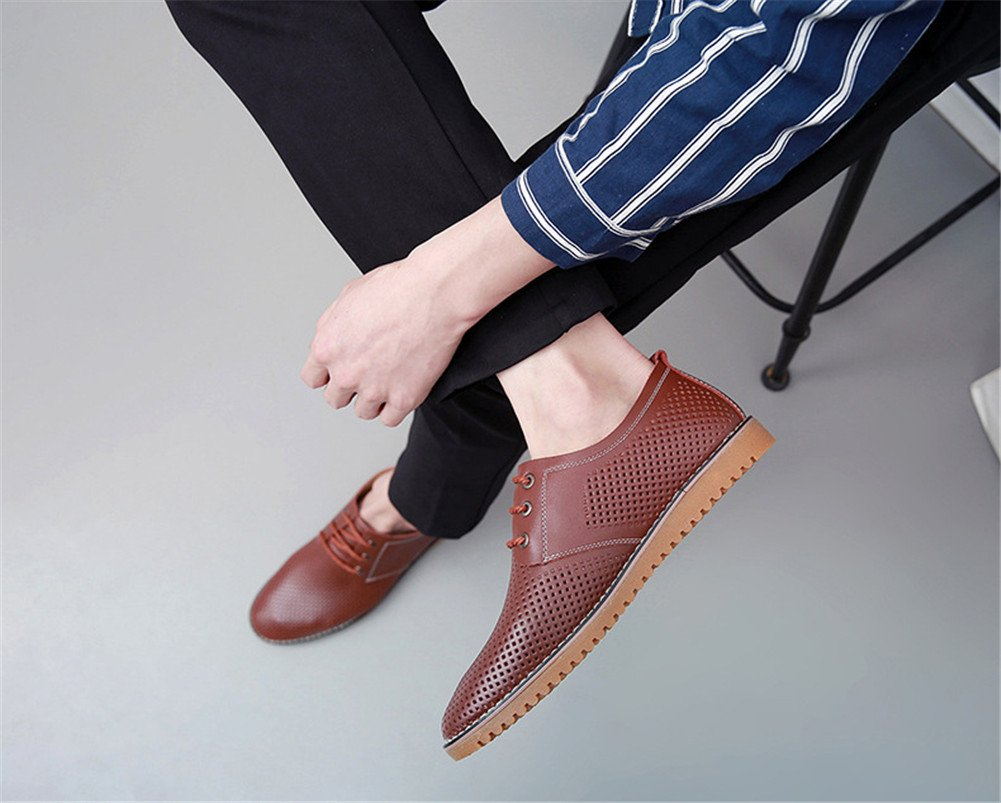 ChicWind Men's Breathable Leather Casual Shoes Lace up Oxfords Dress Shoes Brown by ChicWind (Image #6)