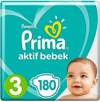 Prima Bebek Bezi Aktif Bebek 3 Beden Midi 6x30'lu Paket, 180 Adet