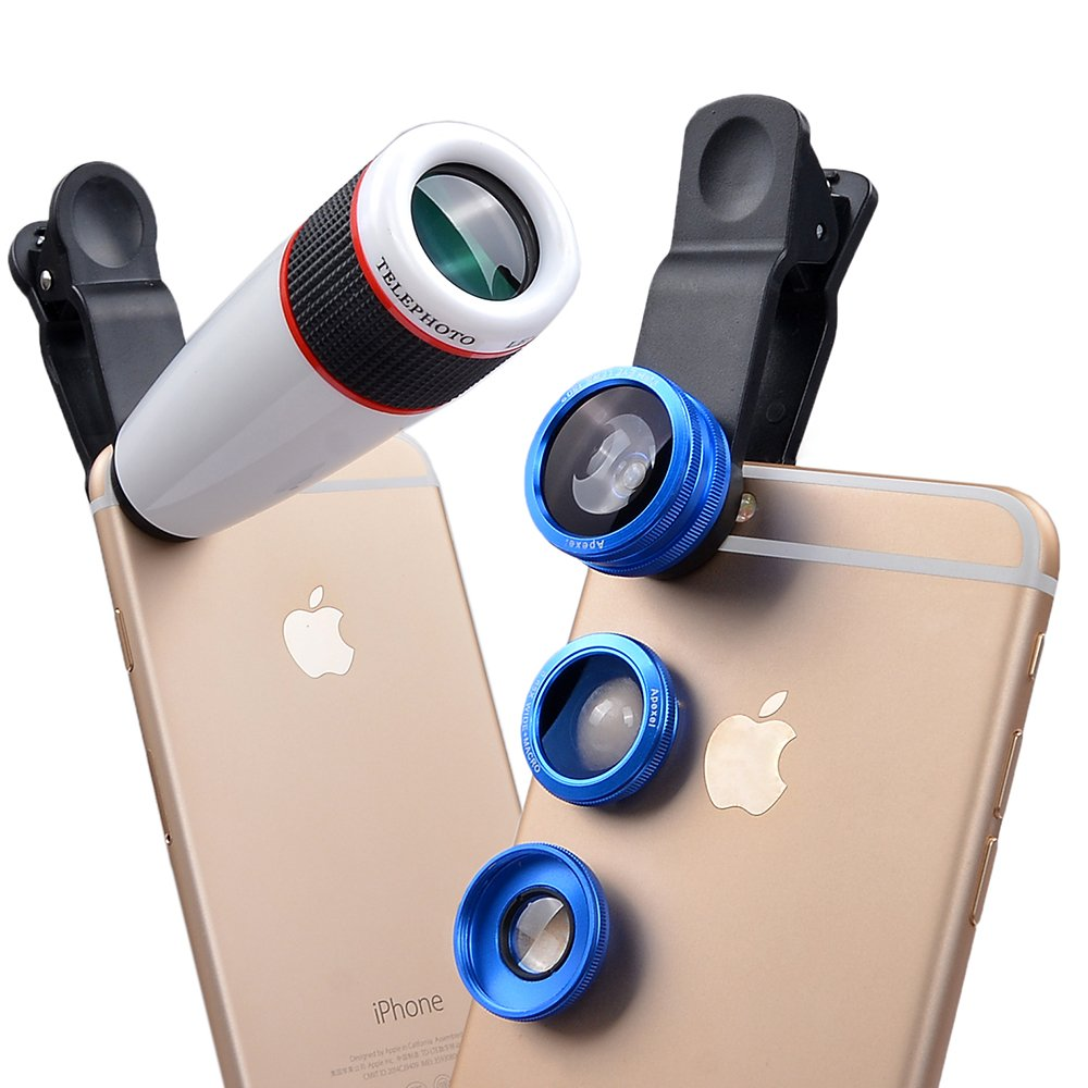 Apexel 4 in 1 Camera Lens 12x White Telephoto Lens/ Blue Fisheye/ Wide Angle + Macro Lens with Universal Clip for iPhone iPad Samsung Galaxy Sony LG Motorola HTC