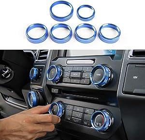 Keptrim for F150 Air Conditioner Switch & Trailer & 4WD & VOL Knob Button Trim for Ford F150 XLT 2016 2017 2018 2019 2020 2021, Blue Aluminum, 6pcs