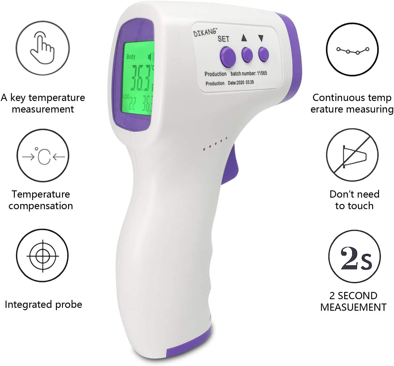 Infrared Digital Medical Thermometer - FDA/CE Approved Most Accurate Forehead Thermometer, Non-Contact 12 Group Data for Kids Adult Home School Office Hospital