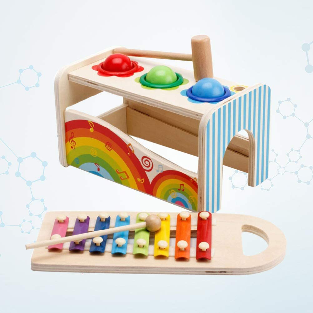 STOBOK wooden learning hammering pounding toys notes xylophone shape color recognition best birthday gift toy for kids baby