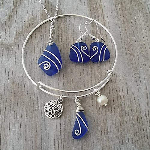 (Handmade in Hawaii, Wire wrapped cobalt blue sea glass necklace + earrings + bracelet jewelry set, Sand dollar charm, FREE gift wrap, FREE gift message, FREE shipping)