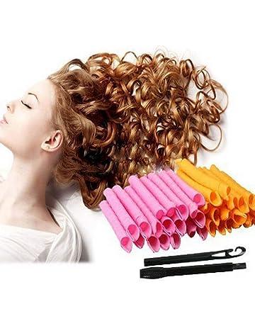 Rulos mágicos en espiral, de plástico, con herramienta de peinado, para mujer,