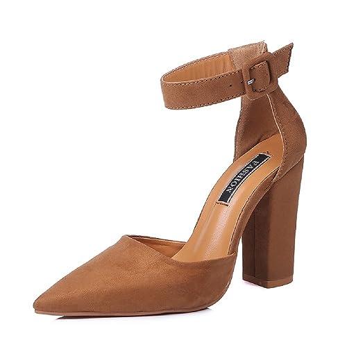 bdde03fb507 Zapatos Tacon Ancho Mujer Sandalias Fiesta Alto Ante Comodos 10cm Fino Boda  Cerrado Punta Verano Fina Zapatillas Negro Rojo Marrón 34-43  Amazon.es   Zapatos ...