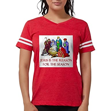 Amazon.com  CafePress - Christmas Jesus is The Reason for The Season T-Shi  - Womens Football Shirt  Clothing ea5e51797
