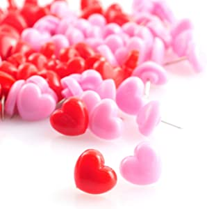 Lind Kitchen 100pcs Heart Shape Push Pins for Home School Office Notice Board Cork Board,Cute Thumbtacks Tacks Decorative Pushpins Accessories Supplies(Pink +Red)