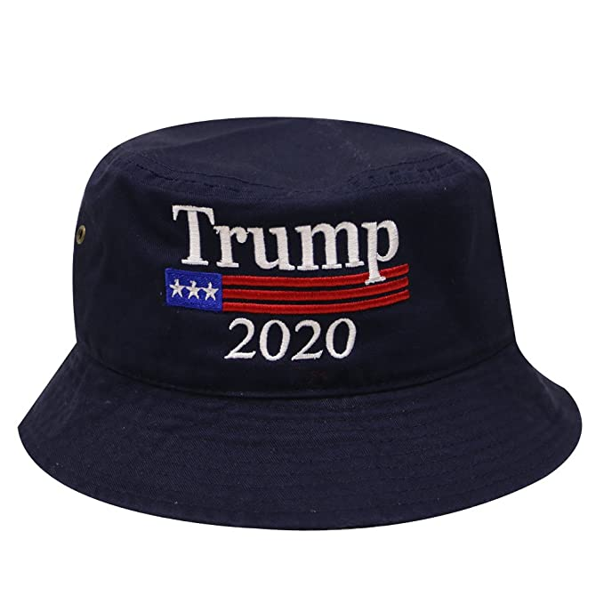 ec2bd214ab5 Bd2020 Trump with American Flag 2020 Cotton Bucket Hat - Navy at ...