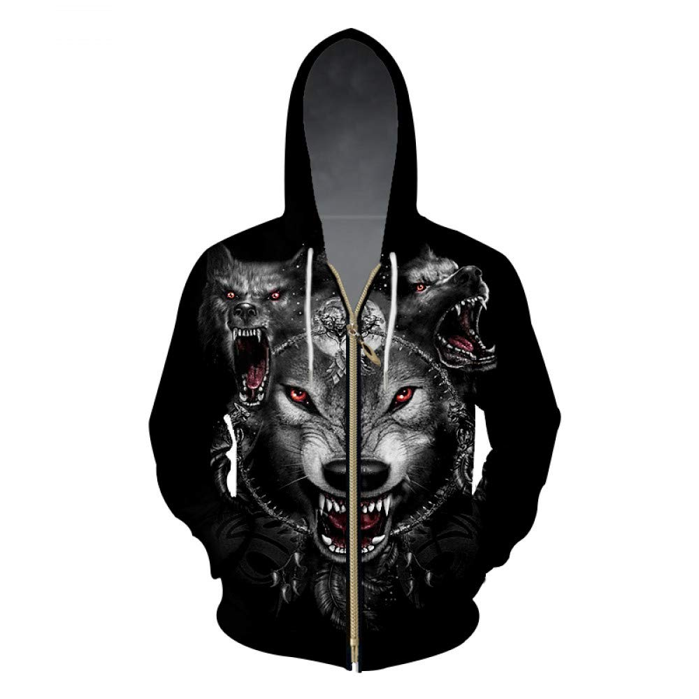 Ai Ya-weiyi 3D-Zip Hoodies Cool Drucken Space Wolf Sweatshirt Hoodie Men Marke Trainingsanzug Long Sleeve Hooded Pullover Tropfenschiff Hoody