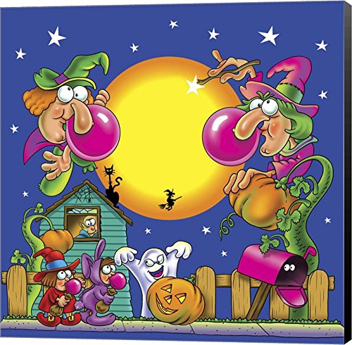 Halloween Gum by Ratru Canvas Art Wall Picture, Black Sides
