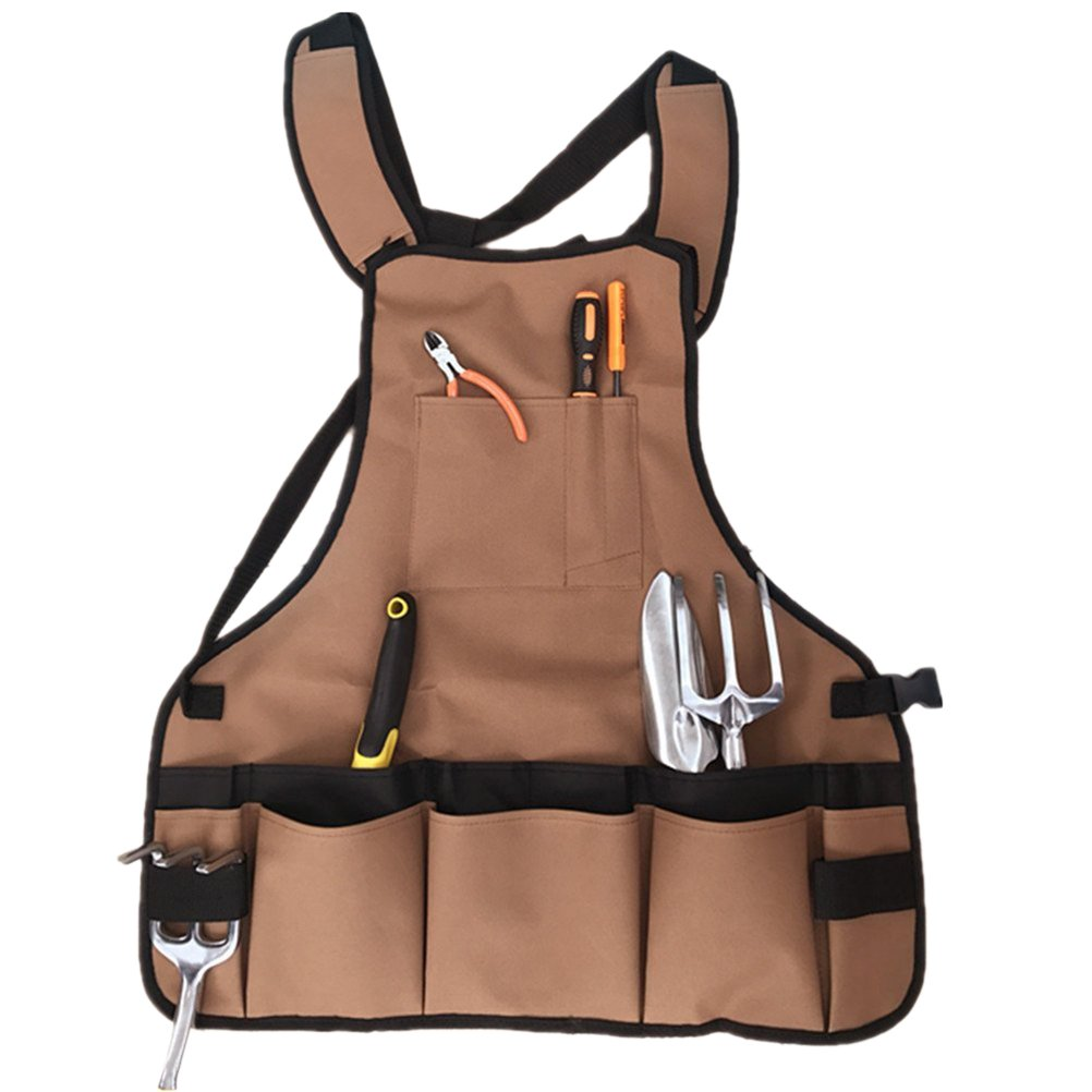OUNONA Garden Tool Apron Canvas Apron with Multi-Pockets for Garden Workers Cleaner